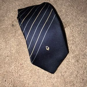 CHRISTIAN DIOR Navy Striped monogram tie